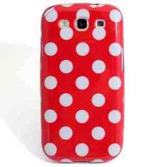 Samsung Galaxy S3 i9300 Red White Polka Dot Cover Case Skin Back Silicone TPU. Price- Only £0.99