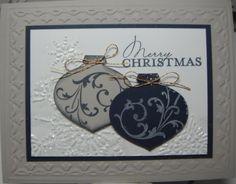 Stampin Up Christmas Card Kit - Dual Ornaments - 5 kits 1 sample Navy & Sand | eBay