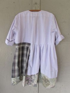 upcycled cotton dress Patchwork clothing summer tunic shirt