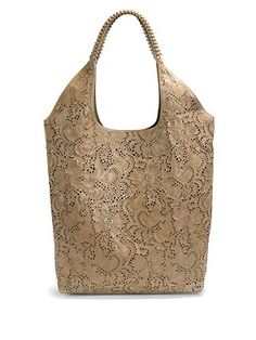 nada sawaya - NS Laser Cut Leather Floral Shoulder Bag/Taupe