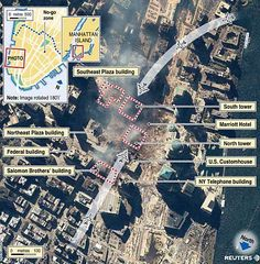 Graphics and images are © Reuters and Space Imaging. Click on the graphics for a larger image. On September 11, 2001 terrorists attack the World Trade Center towers in New York City.