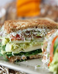 The Ultimate Veggie Sandwich. Omit cheese slices, use vegan cream cheese and vegan mayo with lemon juice in place of greek yogurt. Veggie Recipes, Lunch Recipes, Whole Food Recipes, Vegetarian Recipes, Cooking Recipes, Healthy Recipes, Bread Recipes, Cooking Tips, Veggie Food