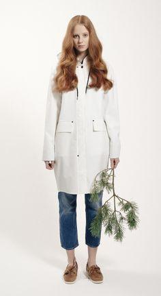 Womens Fårö Coat 460 - White Grundéns Originals Rain Wear, Spring Summer 2015, The Originals, Coat, Women, Fashion, Accessories, Rain Jacket, Jackets