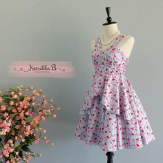 Roses Petal - Summer's Whisper Collection Spring Summer Sundress Blue Red Heart Party Dress Wedding Bridesmaid Dresses Vtg Dress XS-XL