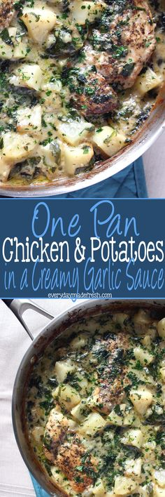 The perfect sauce always contains garlic. The perfect dinner is always cooked in one pan. This One Pan Chicken & Potatoes in a Creamy Garlic Sauce is perfection. | EverydayMadeFresh.com http://www.everydaymadefresh.com/one-pan-chicken-potatoes-creamy-garlic-sauce/
