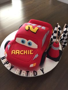 3D Lightning McQueen Cars Cake tutorial with howto video and