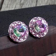 12mm Swarovski Crystal Steel Earrings - Surgical Steel Jewelry - violet - vitrai light by SteelJewelryShop on Etsy