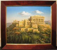 Basilioy original oil titled 'The Parthenon' Acropolis Greece, Athena Goddess, Parthenon, Athens, Oil, The Originals, Artist, Painting, Artists