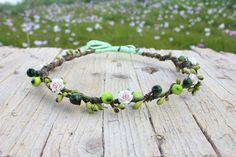 Elf Crown - Rustic Flower Hair Wreath, Hippie Headband. Flower Crown, Bohemian Flower Wreath, Tiara, Whimsical floral head piece. $22.00, via Etsy.