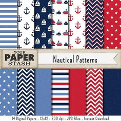 Nautical Digital Paper Navy Blue Red Blue by YourPaperStash