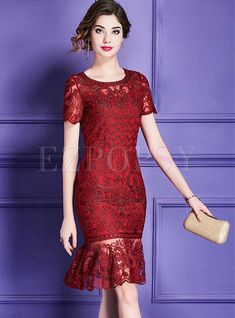 Party Wine Red Mesh Mermaid Dress | Ezpopsy.com Dress Brukat, Kebaya Dress, Batik Dress, Lace Dress, Bodycon Dress, Dress Brokat Modern, Cranberry Dress, Red Frock, Elegant Party Dresses