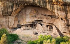 Spruce Tree House at Mesa Verde National Park: Colorado: In the 13th century, Anasazi or Ancestral Puebloans built 130 rooms and eight ceremonial chambers (kivas) in this 216-feet-long and 89-feet-deep cliff dwelling. Groups of 60 to 80 people lived here and farmed corn, beans, and squash.