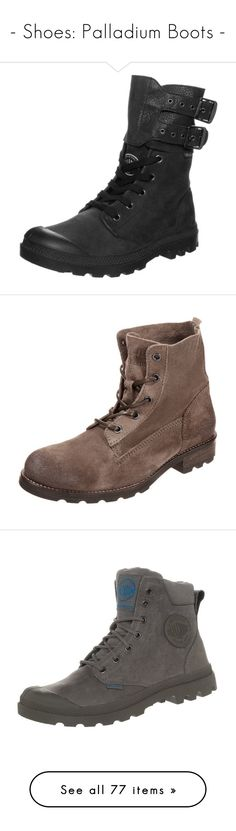 """""""- Shoes: Palladium Boots -"""" by arierrefatir ❤ liked on Polyvore featuring shoes, boots, black, leather boots, cap toe boots, black leather boots, black boots, black laced boots, light grey and block heel shoes"""
