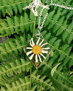 Resin, beautiful spring necklace. Norwegian flowers
