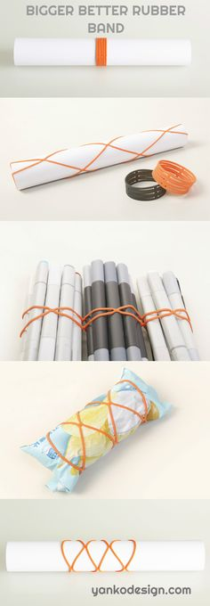 Ever have a script, poster, map or any other rolled up paper get ruined by a rubber band? This innovative twist aims to safe-keep your documents by distributing the pressure evenly so as not to squeeze or damage items. Simply snap it on and stretch to either end to keep things secure! www.yankodesign.com