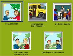 Creación de historias sociales Recurso interactivo para trabajar la anticipación: conversación, expresar experiencias, pedir ayuda, iniciar una conversación y resolución de problemas.
