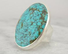 Beautiful Large Spiderweb Turquoise and Sterling Silver Ring RGTQ169N