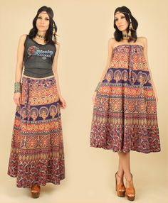 ViNtAgE 70's India Cotton ARTISAN Block Printed Bias Cut MAXI Floral Wrap Skirt Dress L XL
