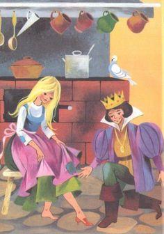 Feb 14 Illustrations by Gisela Gottschlich from Die Schonsten Grimms Marchen (Germany, Rapunzel, Children's Book Illustration, Book Illustrations, Grimm Fairy Tales, Kids Story Books, Fairytale Art, Comic Book Characters, Artist Art, Cartoon Art