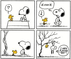 """I hate playing """"bat"""" Snoopy Cartoon, Snoopy Comics, Peanuts Cartoon, Cute Comics, Peanuts Snoopy, Peanuts Comics, Woodstock Bird, Minions, Snoopy Pictures"""