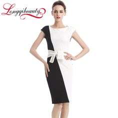 Women Summer Elegant Contact Color Dress Sheath Black And White Patchwork Vestidos Sexy Bodycon Package Hip Knee Length Dresses