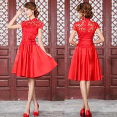 Marriage fashion evening dress 2012 red cheongsam bride dress vintage lace short qipao-in Cheongsams from Apparel & Accessories on Aliexpress.com