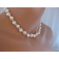 Sterling Silver Swarovski Lined Pearls Beaded Necklace , Wedding Accessory or Jewelry Gift for Bridal