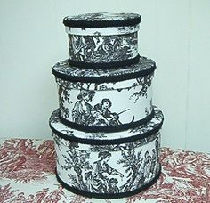 French Country Toile Fabric Covered Nesting Boxes Hat Boxes Waverly Country Life | eBay