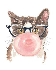 Funny Cat Watercolor Print  Pink Bubble Gum door WaterInMyPaint, $10.00