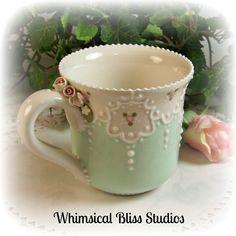 Whimsical Bliss Studios - Lacy Grace Mug in mint green
