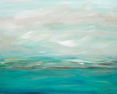 Original Painting Seascape Abstract Coastal Blue 16 x 20 Coastal Waves Ocean Landscape Modern Art Contemporary Painting Stretched Canvas