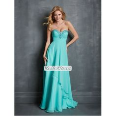 A-line Sweetheart Empire Beadings Pleatings Chiffon Prom Dress PD34905 at belloprom.com