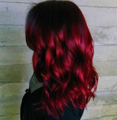 beautiful dark red, curly hair trends - New Hair Hair Color For Black Hair, Cool Hair Color, Black Wig, Red Hair Long Layers, Black Hair With Red, Red Hombre Hair, Red Hair Tips, Hair Colour, Color Red