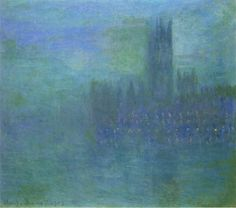 artist-monet:Houses of Parlilament Fog Effect via Claude Monet