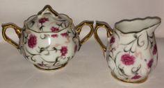 SOLD! #Norcrest  #Creamer + #Sugar Bowl Set Gold Trim Pattern L-295 Floral Pattern VTG #BoneChinaCreamerandSugarBowl
