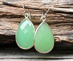 Light Green Earrings Honeydew MelonTear Drop Fashion by amyfine