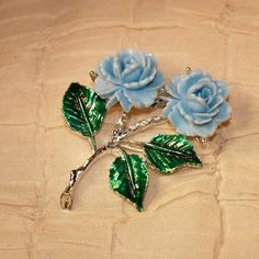 Vintage Plastic Celluloid Blue Rose Flower Pin Brooch Silver Tone Enameled Leaves