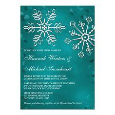 Teal Snowflake Wedding Invitations