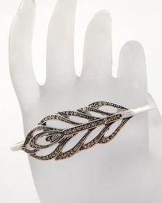 """HB-#001-""""Hand Bracelet""""-1-A  $20.00  2 7/8""""L x 1 7/8""""W  Clear Rhinestone  Matte-Silver Tone"""