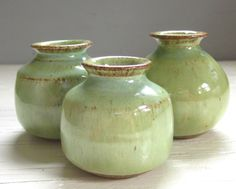 3 little rustic pottery vases perfect for your windowsill ceramic green    hostess gift by JDWolfePottery on Etsy https://www.etsy.com/listing/85898833/3-little-rustic-pottery-vases-perfect