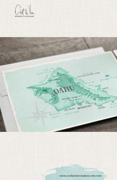 Hawaii Destination Wedding Invitation Oahu by cestlavieinvitations