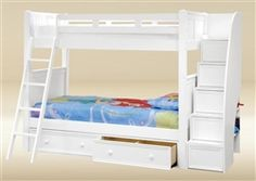 Shopping for high quality Dillon white twin bunk bed with stairway storage for girls room. Find the best quality bunk beds with drawers, trundle for kids bedroom. Stair Drawers, Bunk Beds With Drawers, Bunk Beds With Storage, Full Bunk Beds, Kids Bunk Beds, White Bunk Beds, Modern Bunk Beds, Bed Stairs, Bunk Beds With Stairs
