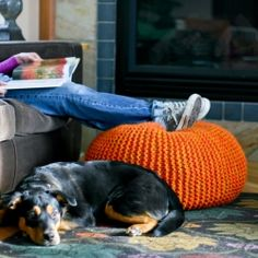 Knit this fabulous pouf - a great project for beginning knitters.