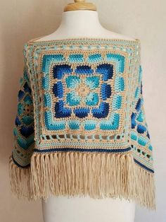 Crochet Poncho Boho Fashion Gypsy Hippie Indie Ready to Ship Diy Crochet Poncho, Crochet Poncho Patterns, Crochet Clothes, Crochet Stitches, Knit Crochet, Crochet Mandala, Crochet Fashion, Pulls, Crochet Projects