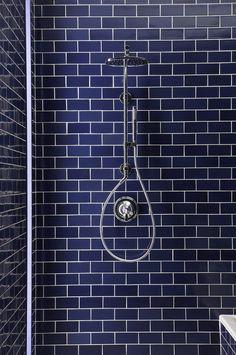 blue subway tile in this bathroom shower stall Blue Subway Tile, Glass Subway Tile, Blue Tiles, Bad Inspiration, Bathroom Inspiration, Custom Glass, Beautiful Bathrooms, Modern Bathroom, Small Bathrooms