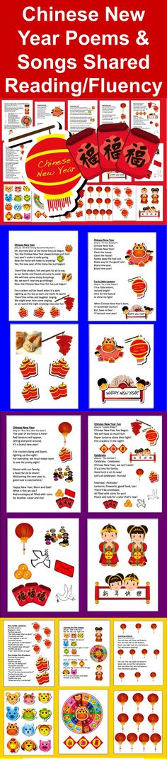 $3.00 Chinese New Year Songs and Poems – For Shared Reading and Fluency- 10 Poems + Graphics for Shared Reading Charts - You can print just the ones you choose. Updated for 2014 - The Year of the Horse - 16 page file – All Illustrated with Chinese New Year themed Graphics-Full Color, but prints nicely in grayscale. Songs/Poems/Finger Plays sung to popular children's songs. Sing to familiar tunes, or chant. Use some or all year after year.