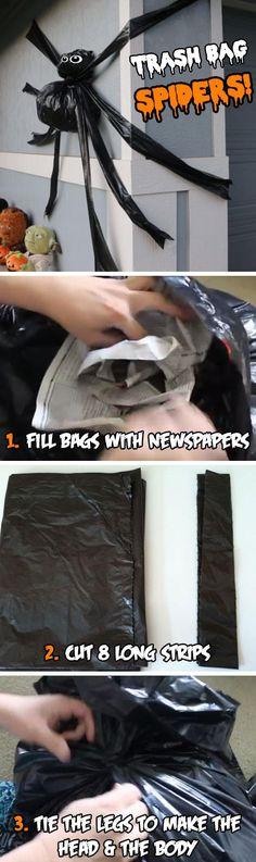 Trash Bag Spiders | 20+ DIY Halloween Crafts for Kids to Make | DIY Halloween Crafts for School Parties
