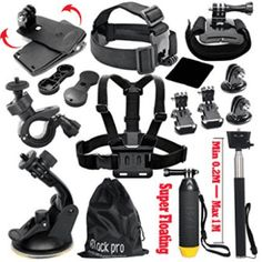 Black Pro Basic Common Outdoor Sports Kit for GoPro Hero 5 Session 4 3 2 1 13 Items Description Buy as a kit and save. These are awesome accessories for GoPro G Gopro Accessories, Photo Accessories, Youtubers, Gopro Hd, Gopro Action, Amazon Sale, Swimming Diving, Gopro Hero 5, Sports Camera