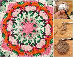 Crochet Pattern pouf doily 01 Jip by Jan Crochet Mandala, Crochet Motif, Crochet Doilies, Crochet Flowers, Crochet Stitches, Crochet Patterns, Granny Square Pattern Free, Square Patterns, Crochet Round