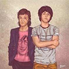 Otroligt läckra före & efter-illustrationer: Äldre kändisar poserar med sitt yngre jag.